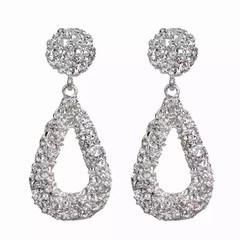 New Women Jewelry Fashion Circle Drop Earrings European Gold Color Casual Ladies Accessories silver whaterdrop shape one size