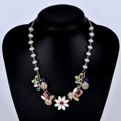 Stylish Women Necklace Colorful Women Jewellery Rhinestone Crystal Pearl Flower Ladies Accessories one color as picture one size