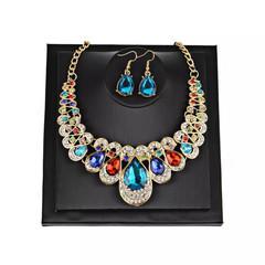 3 Pcs Luxury Women Jewellery Set Women Rhinestone Earrings Crystal Necklace Ladies Accessories multi-color one size