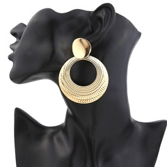 Trendy Women Earrings Luxury Circle Shaped Women Jewellery Shiny Metal Big Size Ladies Accessories gold one size
