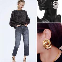 European Fashion Women Earrings Luxury Looking Double Circle Style Women Jewellery Shiny Accessories gold one size