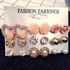 9 Pcs Women Beautiful Earrings Pink Flower Shiny Crystal Women Studs Women Jewellery Accessories gold and silver and pink one size