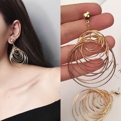 New Women jewelry Metal Large Circle Earrings Long Pendants Ladies Accessories Alloy Drop Earrings gold one size