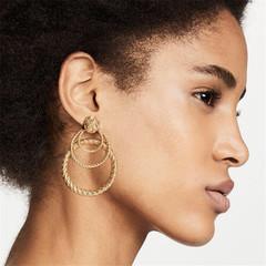 New Women Earrings Stylish Women Stud Multilayer Circle Vintage Women Jewellery Ladies Accessories gold one size