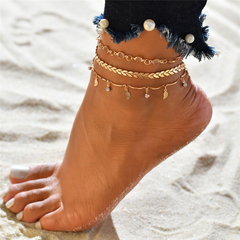 3 Pcs Women Anklets Popular Design Women Jewellery in Europe New Fashion Ladies Accessories gold leaf one size