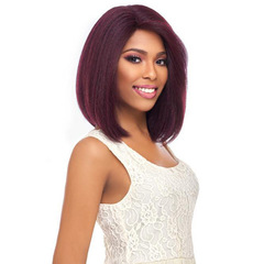 Short Straight Synthetic Hair Wigs Bob Wig Wine Red Cosplay Synthetic Lace Front Wigs Side Part wine red one size