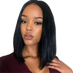 Women Cool Black Wigs Long Medium Straight Synthetic Hair New Front Lace Wig Ladies Cosplay black one size