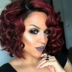 Ladies Short Wave Hair Synthetic Wig Sunset Glow Color Lace Front Curly Hair New Style Women Gift wine red one size