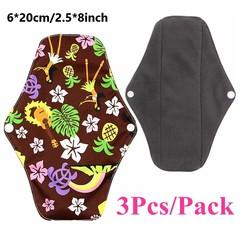 3 PCS [S] 6*20CM Organic Bamboo Charcoal Reusable Menstrual Pads Washable Cloth Sanitary Napkins Pad