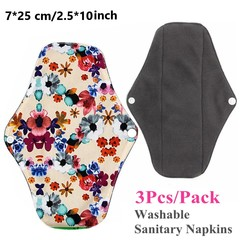 3 PCS [M] 7*25CM Organic Bamboo Charcoal Reusable Menstrual Pads Washable Cloth Sanitary Napkins Pad