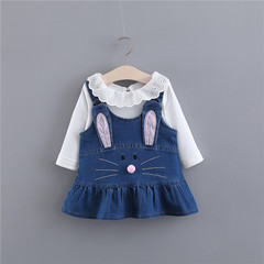 2 pcs Toddler Kids Baby Girls long Sleeve RabbitEars Denim Tutu Dress Clothes Party Princess Dresses Denim 70cm