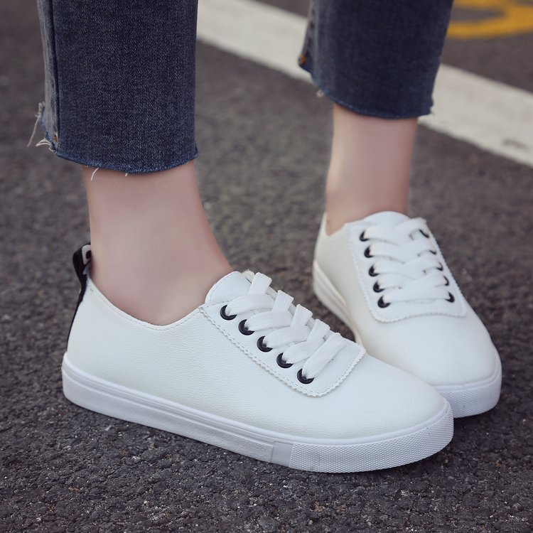 66ff739790a4 Women Vulcanize Shoes Platform Breathable Leather Woman Casual Flat Fashion  Walking Lace-Up Shoes balck 36   Kilimall Kenya