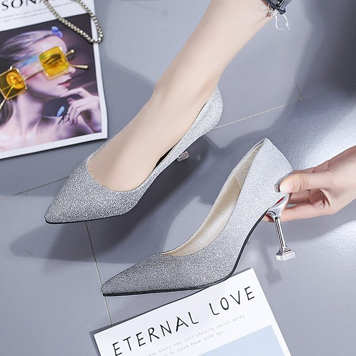 b499a587f53 Women Pumps Glitter High Heel Shoes Woman Sexy Gradient color Elegant  Wedding Stiletto Shoes black 34