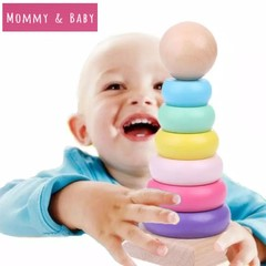 Warm Color Rainbow Stacking Ring Tower Building Blocks Wood Toddler Baby Kids Educational Toys as picture 14cm*6cm*6cm