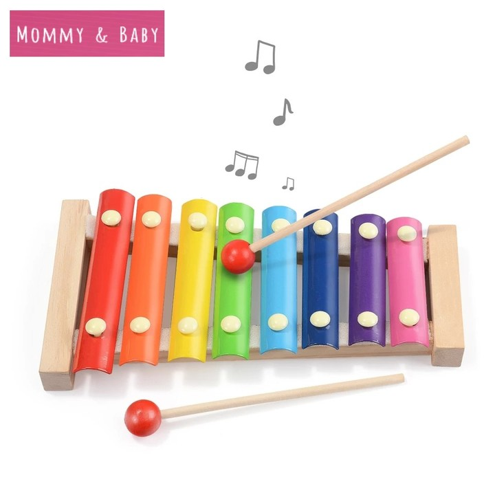 Wooden Music Instrument Montessori Children Early Education Wooden Xylophone Toys Piano Child Gift as picture 23.5cm*12cm*3cm
