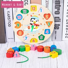 Digital Geometry Kids Puzzles Wooden Clock Model Digital Cognition Toys Learning toys children gifts Radom 17cm*17cm