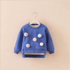 Baby Winter Clothes Toddler Baby Boy Girl Pompom Pullover Sweater Cotton Lined Warm Sweatshirt blue 100cm