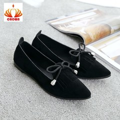Sales Promotion! Women Ballet Flats Shoes Woman Fashion Tassel Solid Bow Tie Shoes black 39