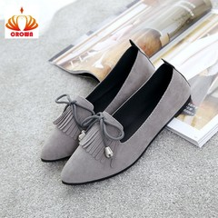 Sales Promotion! Women Ballet Flats Shoes Woman Fashion Tassel Solid Bow Tie Shoes gray 40