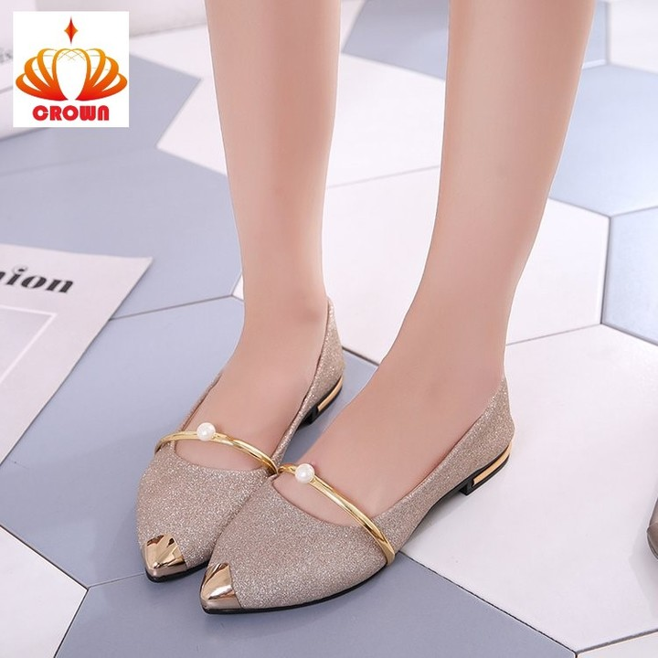 Sale Promotion! Brand New Ladies Flat Shoes Casual Women Shoes Comfortable Pointed Toe Flat Shoes gold 38