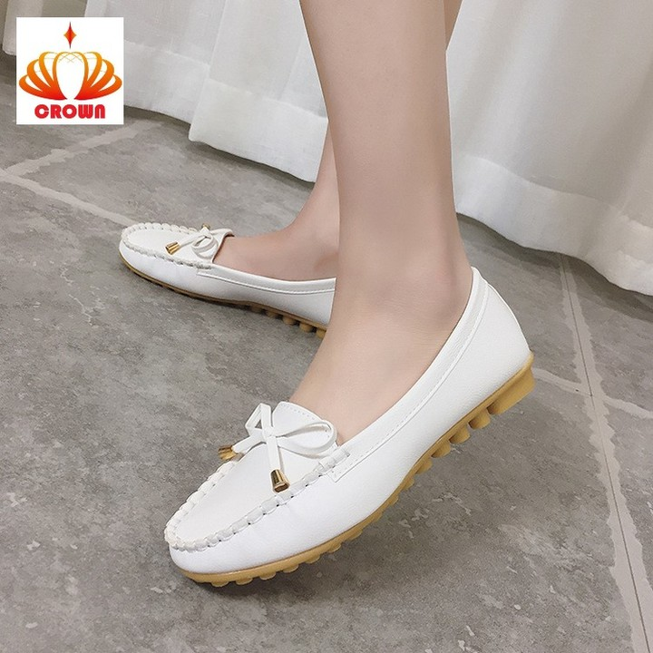 Sales Promotion! Women Ballet Round Toe Non-slip Bowtie Flats Sandals Loafers Oxford Woman Shoes white 37