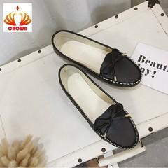 Sales Promotion! Women Ballet Round Toe Non-slip Bowtie Flats Sandals Loafers Oxford Woman Shoes black 35