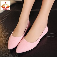Sales Promotion! Big Size Women Flats Candy Color Woman Loafers  Fashion Pointed Toe Casual Shoes pink 37