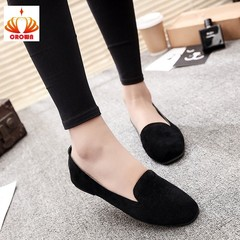 Women Ladies Slip On Round Toe Shallow Shoes Sandals Casual Shoes Genuine Leather Flats Loafer black 38