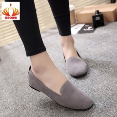 Women Ladies Slip On Round Toe Shallow Shoes Sandals Casual Shoes Genuine Leather Flats Loafer gray 35