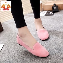 Women Ladies Slip On Round Toe Shallow Shoes Sandals Casual Shoes Genuine Leather Flats Loafer pink 35