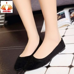 Sales Promotion! Big Size Women Flats Candy Color Woman Loafers  Fashion Pointed Toe Casual Shoes black 35