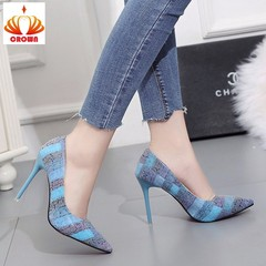 Sale Promotion! Wedding Shoes Women Sexy Office Pointed Toe Pumps Patent Leather High Heels Shoes blue 34