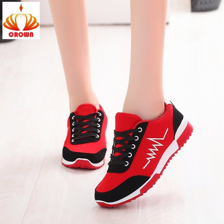 Sneakers Women casual Cross-tied Shoe Lace-Up Outdoor Casual Comfortable Breathable Mesh Shoes red 39