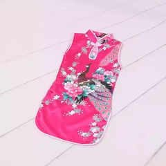 Chinese traditional costume dance outlets dress children qipao stand collar girls tang dress peacock rose red 100cm