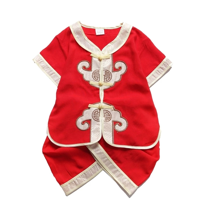 Children Chinese Traditional Costumes Clothing Set Birthday Party Wear Baby Kids Boys Clothes 1 80cm Cotton