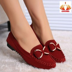 Fashion Women Ballet Shoes Single Bow Flats Women Slip On Shoe Soft Casual Comfortable Home Loafers red 37