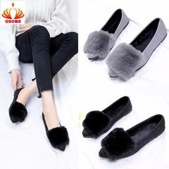 Fashion Lady's Office Short Plush Winter Shoes Black Gray Flock High Heels Pumps Female Buckle Pumps black 35