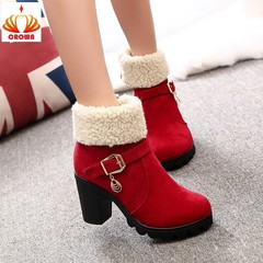 New Fashion Boots Women Plus Velvet Large Size Women'S Boots Thick With High Heel Boots Cotton Boots red 35