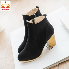 Sales Promotion! Women Boots British Basic Zip Ladies High Heel Woman Shoes Square Heel Boots black 35