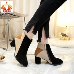 Sexy fashion Ankle Women Boots 2 style Casual Comfortable zipper High Heels Women Boots Shoes Pumps beige chunky heel 35