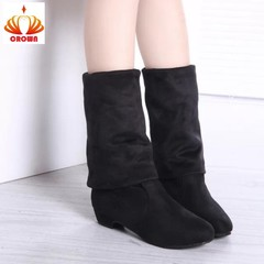 Two wear women over - knee boots slim trim leg elastic suede boots with low heel knee high boots black 35