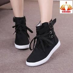 HOT Big Size Women Boots Casual Canvas Shoes Woman Flats Solid Ankle Boots Platform Shoes Woman black 35