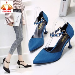 Women's shoes 2019 spring new wild pointed stiletto high heels female buckle hollow single shoes blue 35