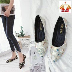 woman leather loafers ethnic pointed toe causal shoes breathable totem flower flat shoes beige 35