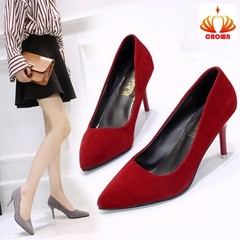 high heels spring and autumn fashion stiletto women's suede single shoes professional work shoes red(5cm) 35
