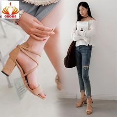 2019 Ankle Strap Heels Women Shoes Women Open Toe Chunky High Heels Party Dress Sandals apricot 34