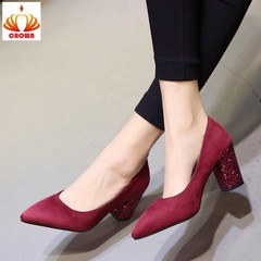 Pointed Thick Heels Temperament Elegant Rhinestone Women's Shoes Wedding Party Suede Shoes wine red 34