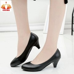 Women Pumps Pu Leather Shoes Fashion Pointed Toe Low Heels Shoes Women Office Work Plus Big Size black thin heel 5cm 35