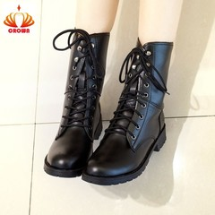 2019 New Combat Military Boots Women Motorcycle Gothic Punk Combat lovers Boots Shoes Big Size black 35