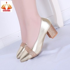 Big Size Women High Heel Shoes Shallow Square Heel Pump Pointed Toe Classic Slip-On Ladies Shoes gold 34